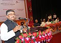 Ravi Shankar Prasad addressing after unveiling the foundation stone for International Gateway (internet connectivity), at Rabindra Shatabarshiki Bhavan, in Agartala. The Governor of Tripura.jpg