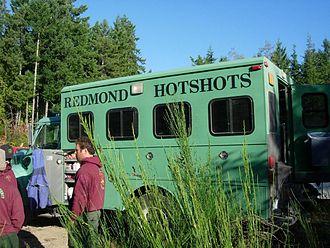 Interagency hotshot crew - Redmond Hotshots crew truck on the Bear Gulch fire in Washington