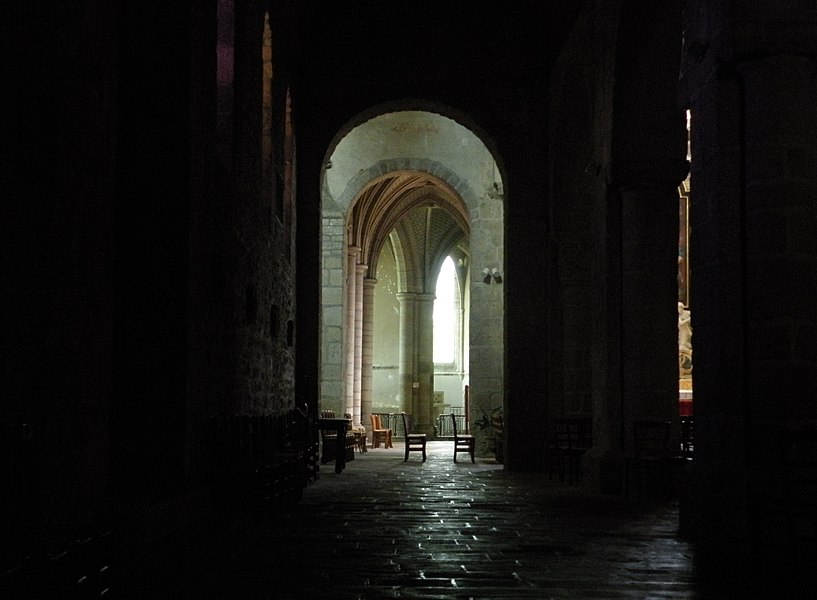 Aisle of the church of Saint-Sauveur abbey in Redon