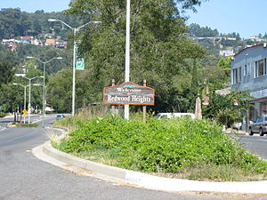 Redwood Heights, Oakland, California - A sign welcoming motorists to Redwood Heights