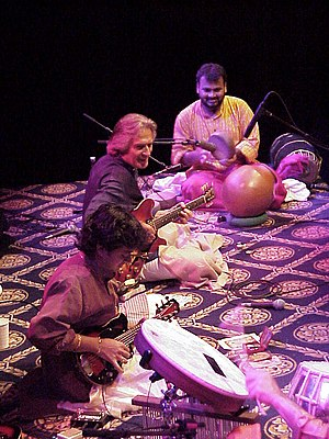 U. Srinivas - Remember Shakti Concert, Munich/Germany (2001) (left to right) U. Srinivas, John McLaughlin, V. Selvaganesh