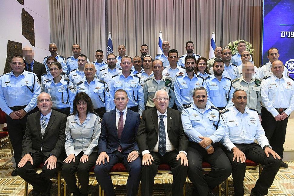 Reuven Rivlin and Gilad Erdan awarding public security excellence awards, February 2018 (0450)