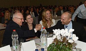 Naftali Bennett - Bennett with President of Israel Reuven Rivlin, Michal Ansky, and Ofra Strauss at the Jasmine businesswomen's convention for promotion of small and medium-sized enterprises, Israel, 15 December 2014