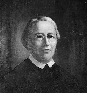 A monochrome painting of a man in clerical clothing
