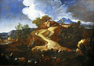 Landscape with a road (detail).