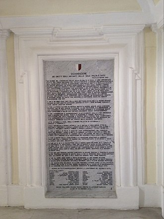 Malta Protectorate - The Declaration of Rights of the inhabitants of the Islands of Malta and Gozo, of 1802, at Palazzo Parisio.