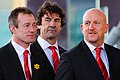 Robert Howley, Mark Davies and Sean Edwards arrive. Wales Grand Slam Celebration, Senedd 19 March 2012.jpg