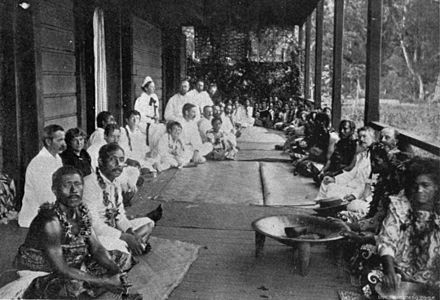 Robert Louis Stevenson's birthday fete at Vailima, 1894 Robert Louis Stevenson birthday fete, Samoa 1896.jpg