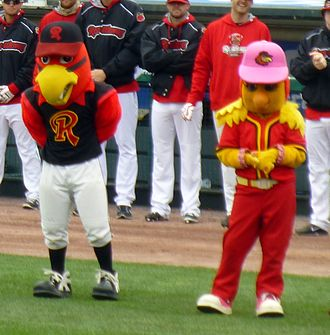 Rochester Red Wings - Spikes and Mittsy, mascots of the Rochester Red Wings