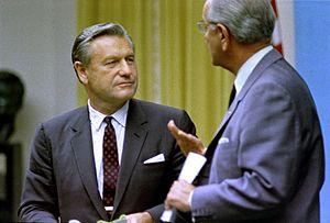 Nelson Rockefeller (left) with President Lyndo...
