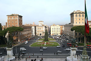 Piazza Venezia - Piazza Venezia, as seen from the Monument to Vittorio Emanuele II with Palazzo Venezia to the left.