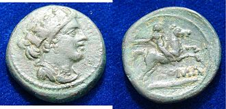 "Semuncia - Roman Republic, Semuncia 217-215 BC. Diameter 20 mm, 6.08 g. Turreted and draped female head r. / Horseman r., holding whip in r. and reins in l. hand. 1 line below:  ""ROMA"".  Dark green patina."