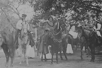 Rose C. Davison - Rose C. Davison leading a troupe of ''pāʻū'' riders