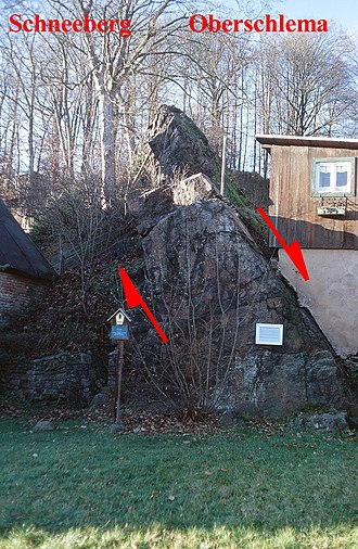 Wismut (mining company) - Roter Kamm fault in Bad Schlema: The hematite-quartz mineralised fault is the geological boundary between the Schneeberg and Schlema-Alberoda deposits.