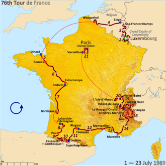 1989 Tour de France - Route of the 1989 Tour de France