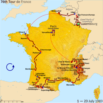Map of France with the route of the 1989 Tour de France