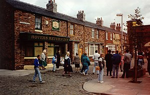 Sarah Lancashire - The Coronation Street set, pictured in 2005. Lancashire appeared in the serial for five years between 1991 and 1996