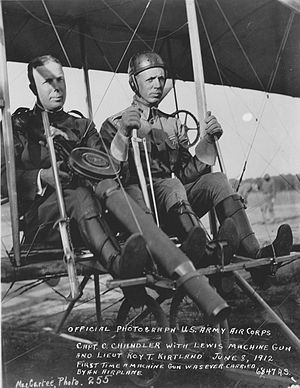 Kirtland Air Force Base - Roy Kirtland (at right), flying a Wright 1911 Model B Flyer
