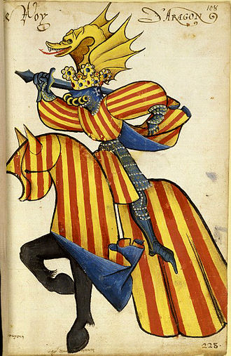 Crown of Aragon - Equestrian heraldic of king Alfonso V of Aragon in the Equestrian armorial of the Golden Fleece 1433–1435. Collection Bibliothèque de l'Arsenal.
