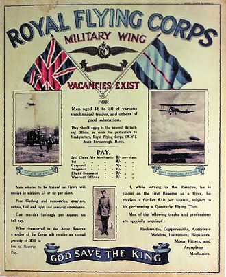British Army during World War I - Royal Flying Corps World War I recruiting poster
