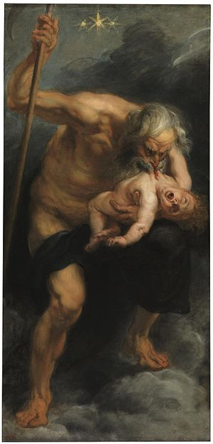 Cronus - Painting by Peter Paul Rubens of Cronus devouring one of his children