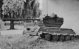 Czterej pancerni i pies - A wooden tank made by unknown enthusiasts of the series from Rawicz