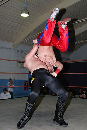 Suplex - A wrestler performing a vertical suplex on an opponent