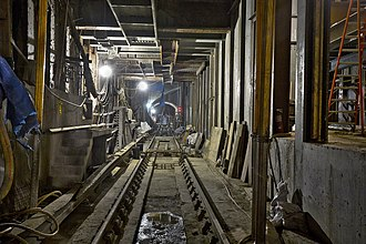 Lexington Avenue–63rd Street (63rd Street lines) - Unused tracks on BMT side under construction in 2013