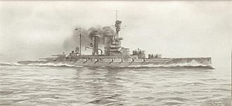 Bayern-class battleship - Recognition drawing of Baden underway
