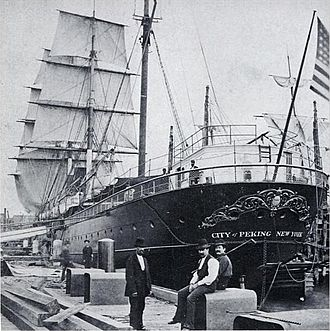 SS City of Peking - City of Peking at Pier 42, North River, New York in 1874