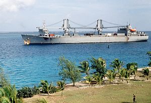 Operation Steel Box - The U.S. Military Sealift Command auxiliary crane ship SS ''Gopher State'' (T-ACS-4) as the ship arrives at Johnston Atoll during Operation Steel Box.
