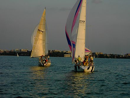 Sailboats approaching the south shore of Lake Mendota and downtown Madison - north side of isthmus Sailboats on Lake Mendota.JPG