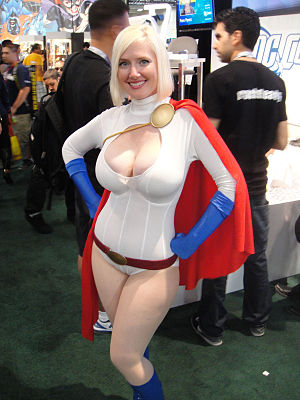 Power Girl - Cosplayer Vegas PG dressed as Power Girl at the 2011 San Diego Comic-Con