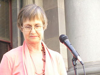 Sandra Kanck - Kanck speaking at a rally on the steps of Parliament House, Adelaide in 2007.