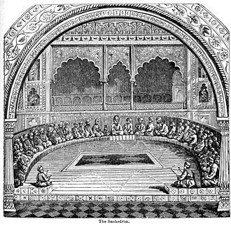 Tombs of the Sanhedrin - An 1893 encyclopedia illustration of the Sanhedrin in session.