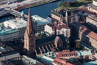 St. Peter's Church, Malmö - Aerial view of the church within its urban context