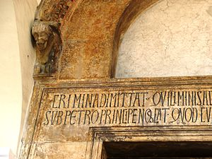 Robert of Caiazzo - Detail of the lintel of the original doorway of Robert's foundation of San Mennato in Sant'Agata.
