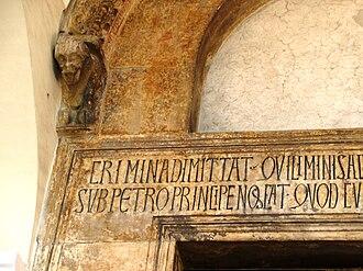 Robert of Caiazzo - Detail of the lintel of the original doorway of Robert's foundation of San Mennato in Sant'Agata.