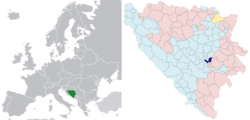 Location in Europe and Bosnia and Herzegovina (dark blue)