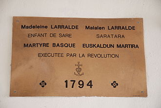 End of Basque home rule in France - Memorial plaque inside the St. Martin church to a victim of the 1793-1795 repression  (Sara, Labourd)