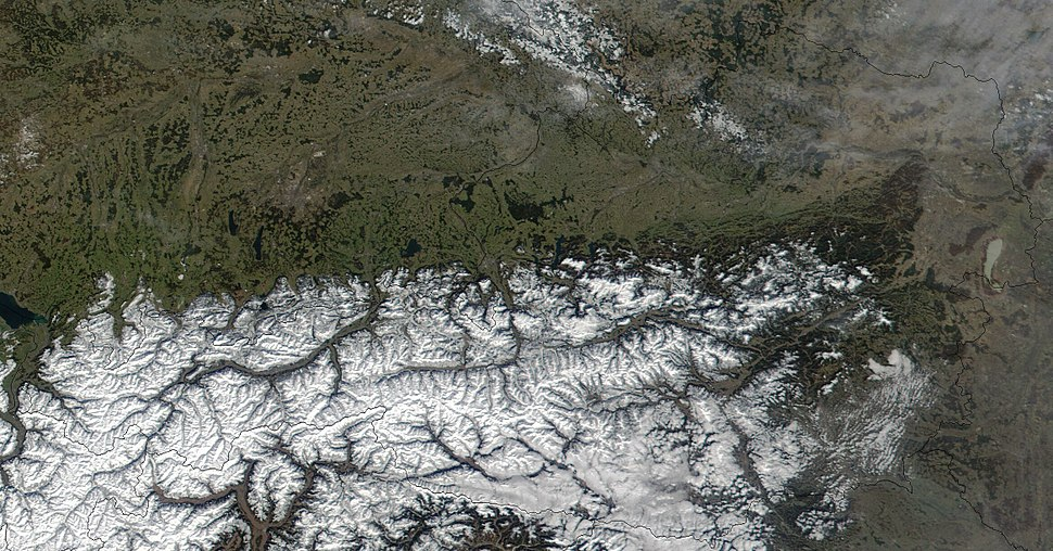 Satellite image of Austria in March 2002