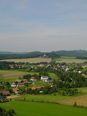 Reinhardtsdorf-Schöna - View of Schöna from the Kaiserkrone