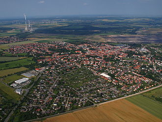 Schöningen - Aerial view with Buschhaus Power Plant