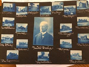 Scrapbooking - A page from a photograph album circa 1906. The pages and color of this album are made especially for displaying photographs. The album's owner has arranged her photographs in order to represent her college campus and president.