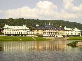 Pillnitz - Pillnitz Palace and river Elbe