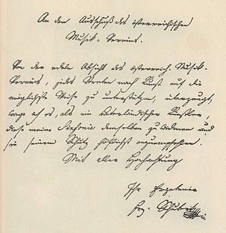 Symphony No. 9 (Schubert) - Schubert's letter concerning the symphony No. 9, D. 944