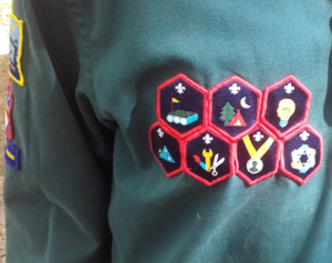 Scouts (The Scout Association) - A Scout wearing some of the revised Challenge Badges introduced by The Scout Association in 2015.