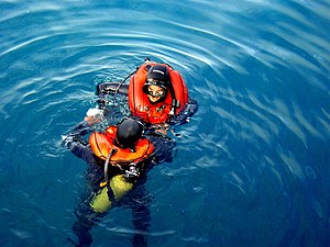 Buoyancy compensator (diving) - Surfaced divers with inflated horsecollar BCs