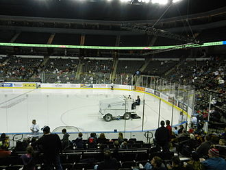 Sears Centre - The ice surface set up for a hockey game.