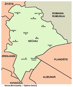 Sečanj - Map of Sečanj municipality